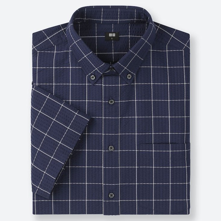MEN DRY SEERSUCKER CHECKED SHORT-SLEEVE SHIRT, NAVY, large