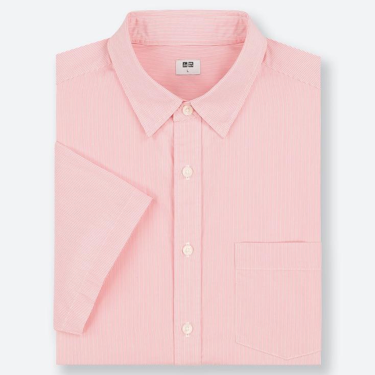 MEN EXTRA FINE COTTON SHORT-SLEEVE SHIRT, PINK, large