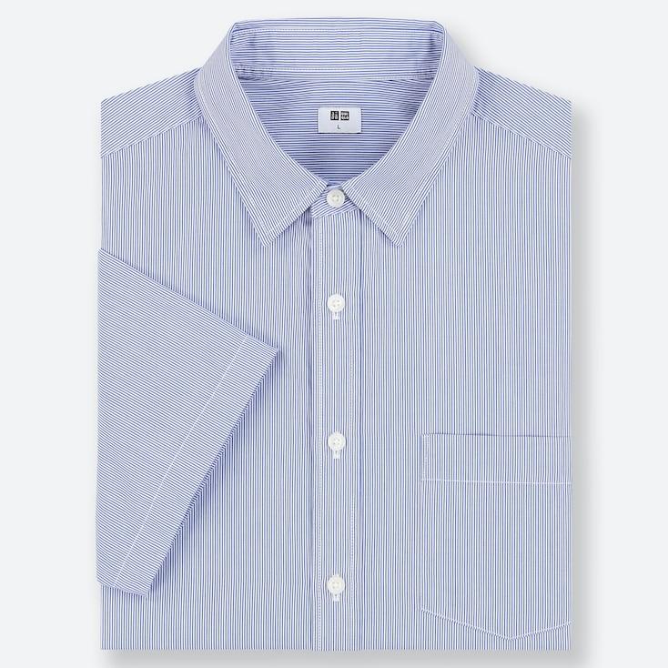 MEN EXTRA FINE COTTON SHORT-SLEEVE SHIRT, BLUE, large