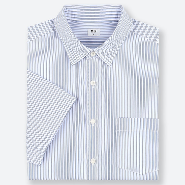 MEN EXTRA FINE COTTON REGULAR FIT STRIPED SHORT SLEEVED SHIRT (REGULAR COLLAR)