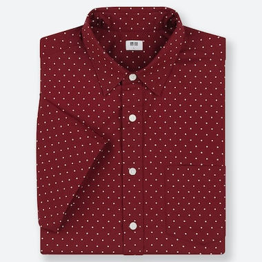 MEN EXTRA FINE COTTON SHORT-SLEEVE SHIRT, RED, medium