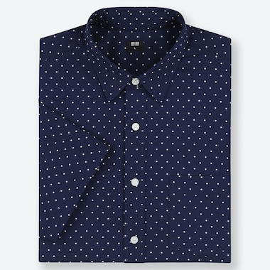 MEN EXTRA FINE COTTON SHORT-SLEEVE SHIRT, NAVY, medium