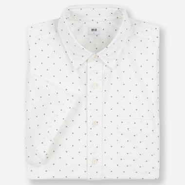 MEN EXTRA FINE COTTON BROADCLOTH REGULAR FIT DOTTED SHORT SLEEVED SHIRT (REGULAR COLLAR)