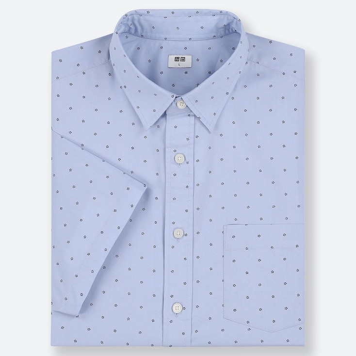 MEN EXTRA FINE COTTON SHORT-SLEEVE SHIRT, BLUE, large