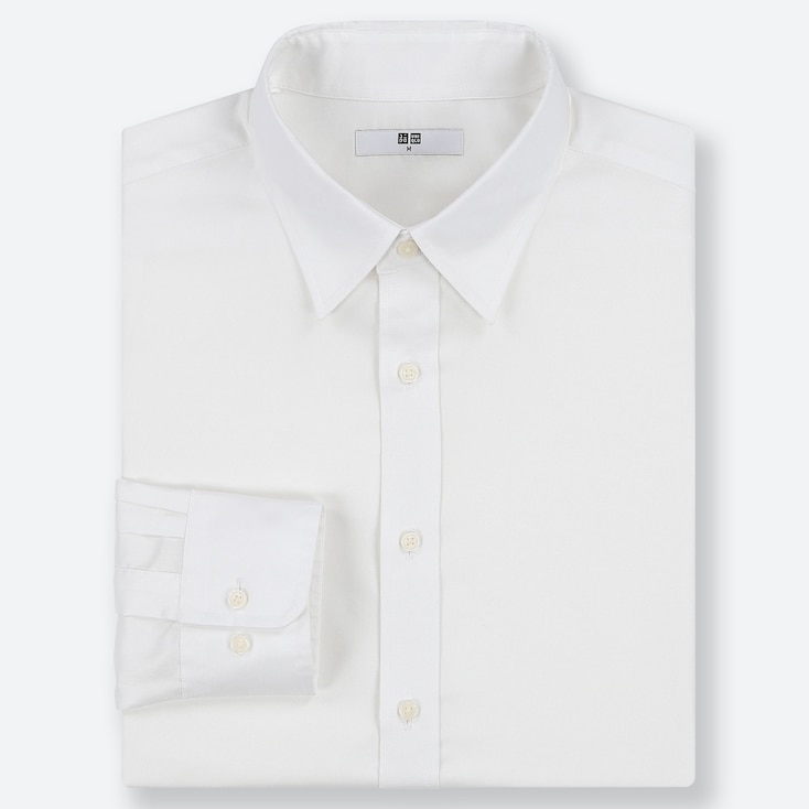 MEN EASY CARE OXFORD REGULAR-FIT LONG-SLEEVE SHIRT, WHITE, large