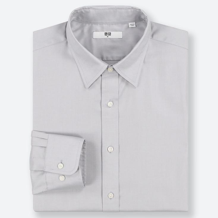 MEN EASY CARE OXFORD REGULAR-FIT LONG-SLEEVE SHIRT, LIGHT GRAY, large