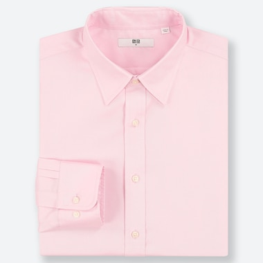 MEN EASY CARE OXFORD REGULAR-FIT LONG-SLEEVE SHIRT, PINK, medium