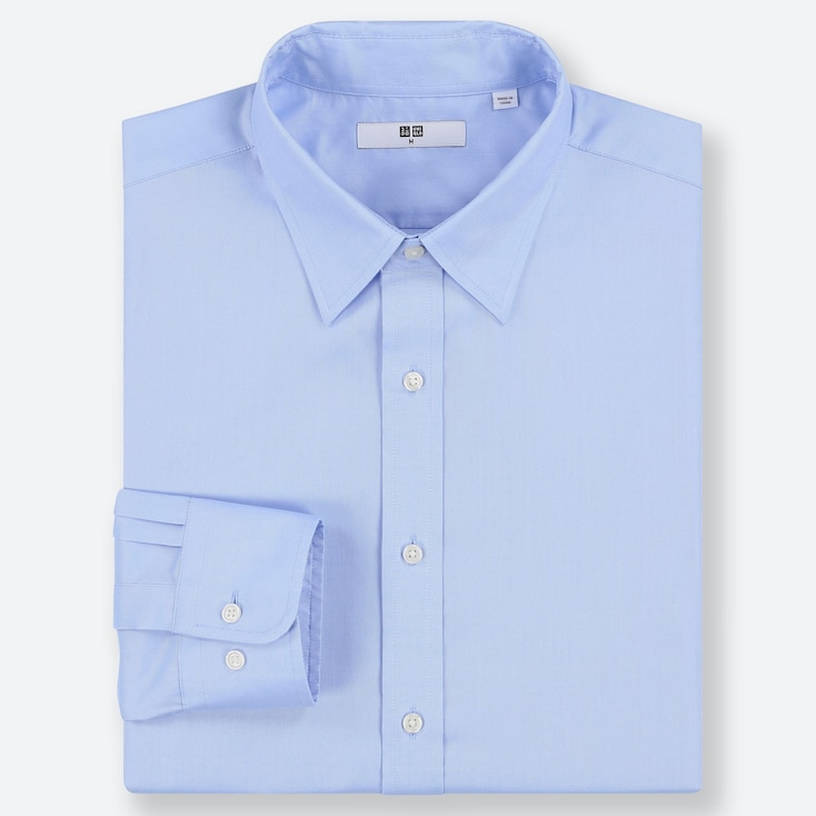 MEN EASY CARE OXFORD REGULAR-FIT LONG-SLEEVE SHIRT, BLUE, large