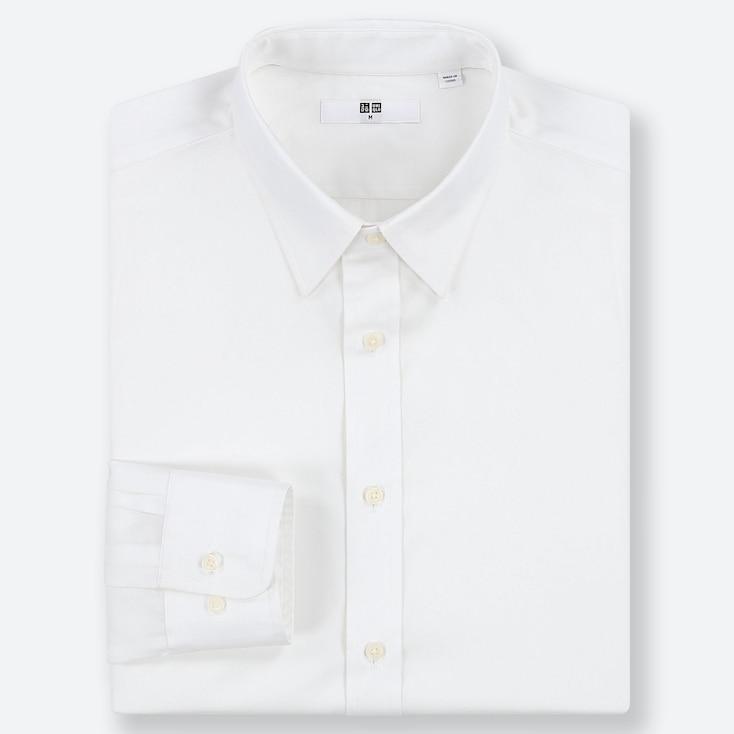 MEN EASY CARE REGULAR-FIT LONG-SLEEVE SHIRT, WHITE, large