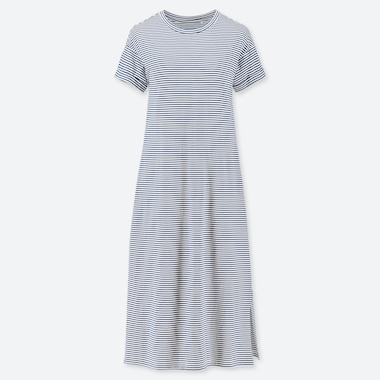 WOMEN RELAX PADDED STRIPED LOUNGE DRESS