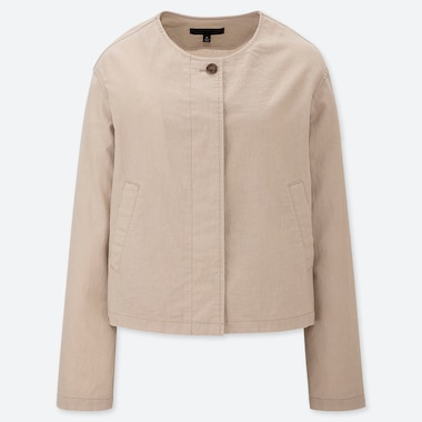WOMEN LINEN BLEND COLLARLESS JACKET