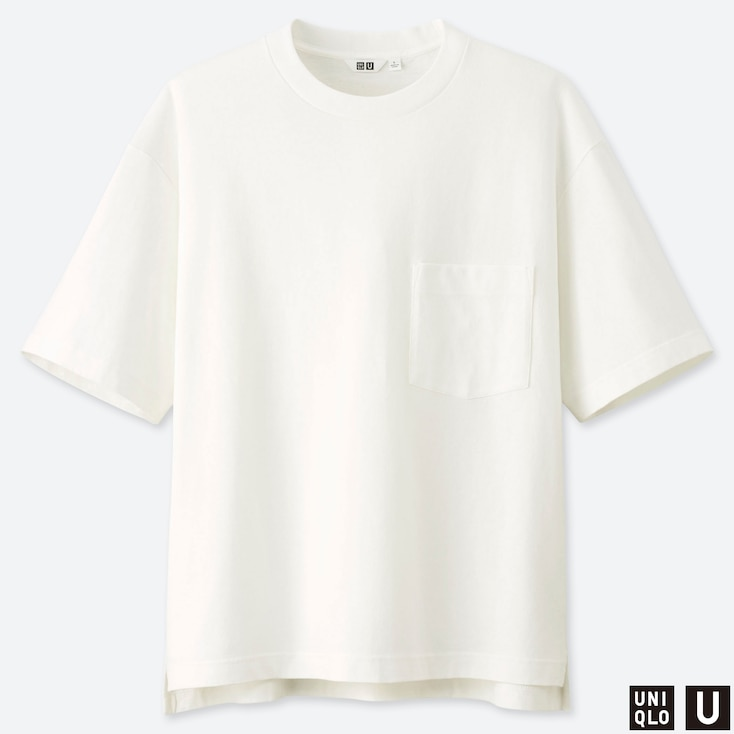MEN U OVERSIZED CREW NECK SHORT-SLEEVE T-SHIRT, WHITE, large