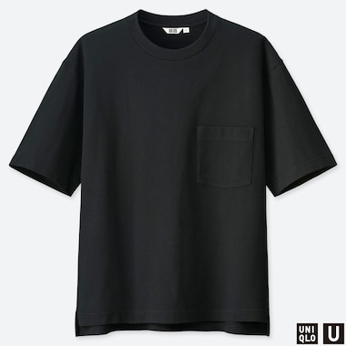 MEN U OVERSIZED CREW NECK SHORT-SLEEVE T-SHIRT, BLACK, medium