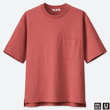 MEN U OVERSIZED CREW NECK SHORT-SLEEVE T-SHIRT, RED, medium