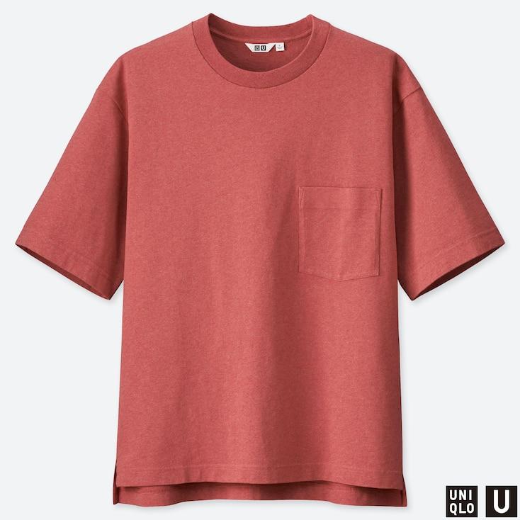 MEN U OVERSIZED CREW NECK SHORT-SLEEVE T-SHIRT, RED, large