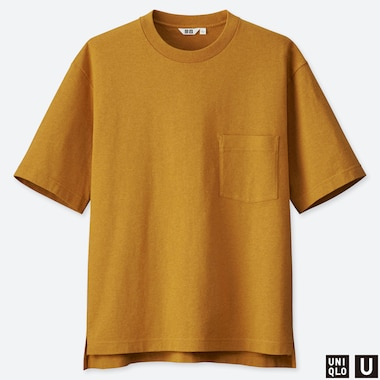 MEN U OVERSIZED CREW NECK SHORT-SLEEVE T-SHIRT, YELLOW, medium
