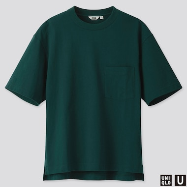MEN U OVERSIZE CREW NECK SHORT-SLEEVE T-SHIRT, GREEN, medium