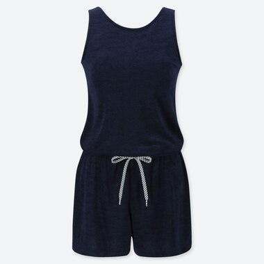 WOMEN AIRism PILE ROMPER (WITH PADDING), NAVY, medium