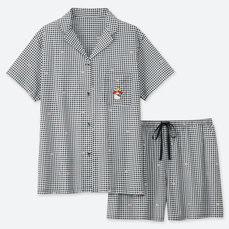 WOMEN SANRIO UT SOFT STRETCH GINGHAM CHECKED SHORT SLEEVED PYJAMAS