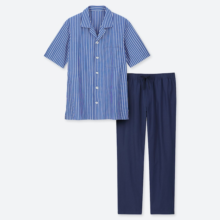 MEN SHORT-SLEEVE PAJAMAS, BLUE, large