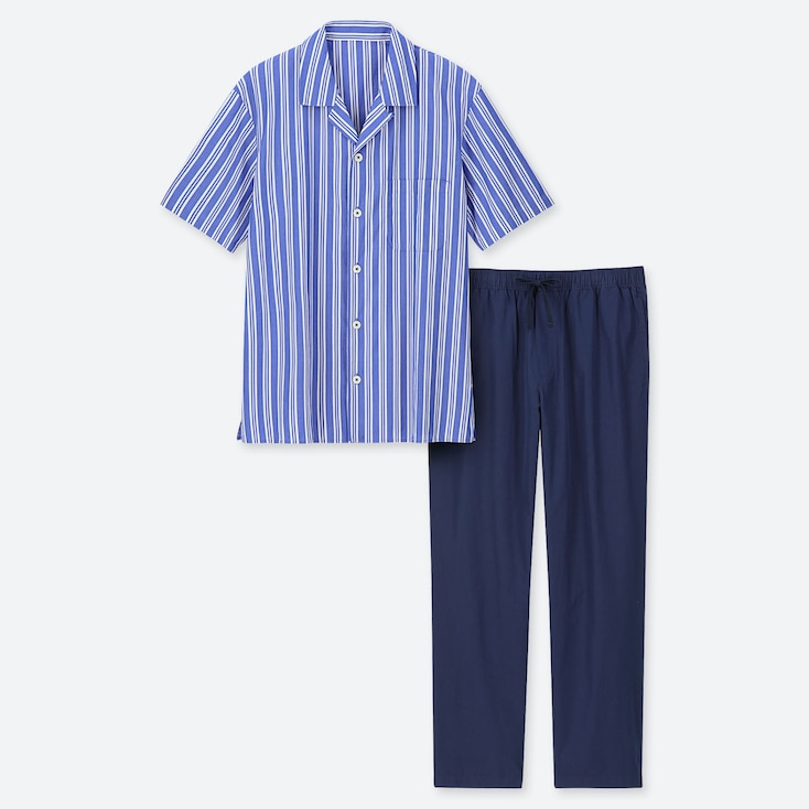 MEN SHORT-SLEEVE PAJAMAS, BLUE, large