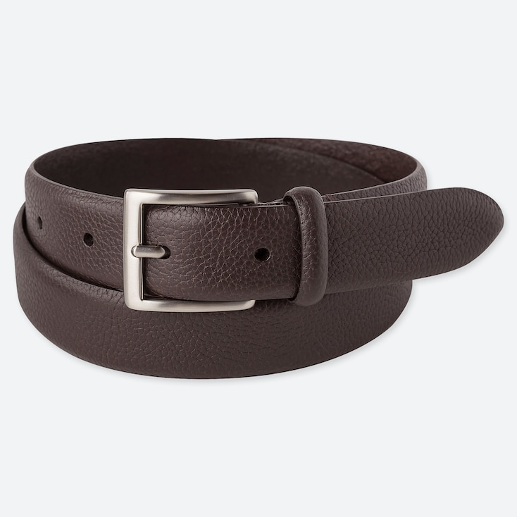 MEN ITALIAN LEATHER EMBOSSED BELT, DARK BROWN, large