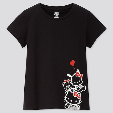 GIRLS SANRIO CHARACTERS UT (SHORT-SLEEVE GRAPHIC T-SHIRT), BLACK, medium