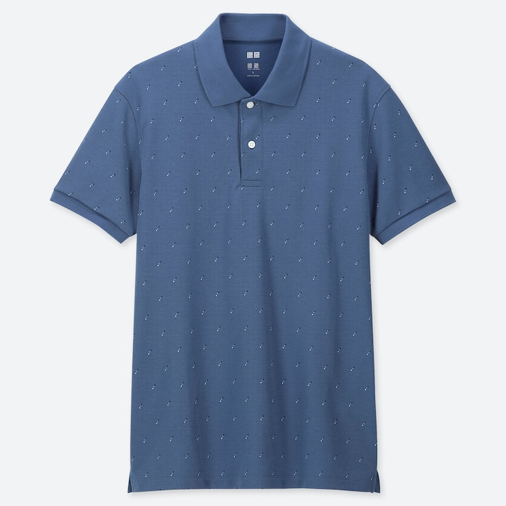 MEN DRY-EX PIQUE PRINTED POLO SHIRT (ONLINE EXCLUSIVE), BLUE, large
