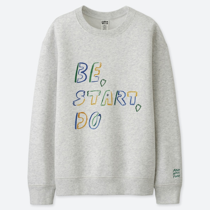 WOMEN AND HAVE FUN ! BY GRACE LEE SWEATSHIRT, LIGHT GRAY, large