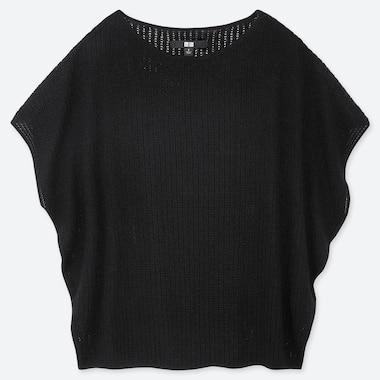 WOMEN LACY BOAT NECK SHORT-SLEEVE SWEATER, BLACK, medium