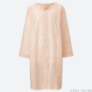 WOMEN V-NECK PRINTED LONG-SLEEVE TUNIC (HANA TAJIMA), PINK, medium