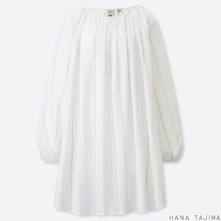 WOMEN GATHERED STRIPED LONG-SLEEVE TUNIC (HANA TAJIMA), WHITE, large