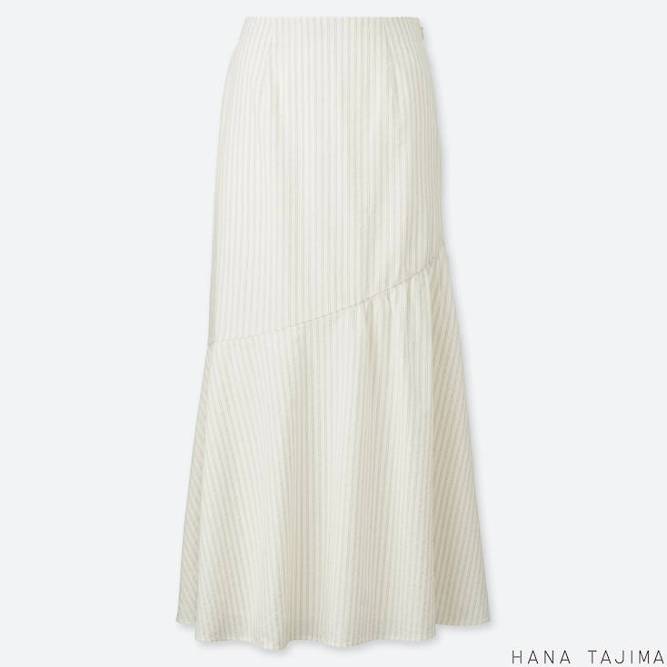 WOMEN SEERSUCKER FLARE LONG SKIRT (HANA TAJIMA), OFF WHITE, large