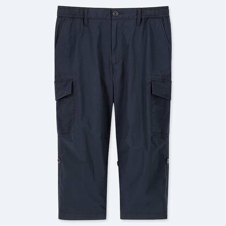 MEN PULL-ON ROLL UP 3/4 CARGO PANTS (ONLINE EXCLUSIVE), NAVY, large