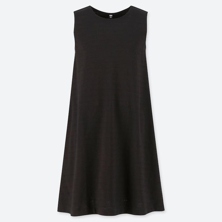 WOMEN JACQUARD SLEEVELESS DRESS (ONLINE EXCLUSIVE), BLACK, large