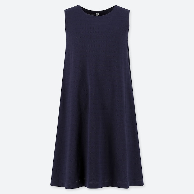 WOMEN JACQUARD SLEEVELESS DRESS (ONLINE EXCLUSIVE), NAVY, large