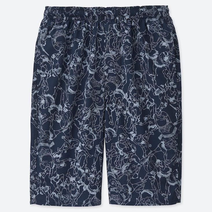MEN HOKUSAI BLUE LIGHT COTTON EASY SHORTS (ONLINE EXCLUSIVE), BLUE, large