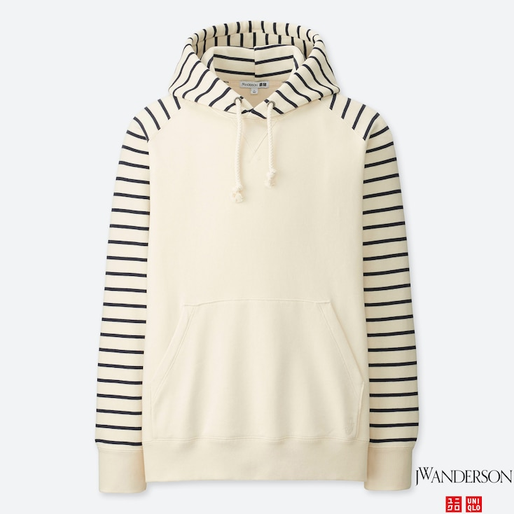 MEN SWEAT LONG-SLEEVE PULLOVER HOODIE (JW Anderson), OFF WHITE, large