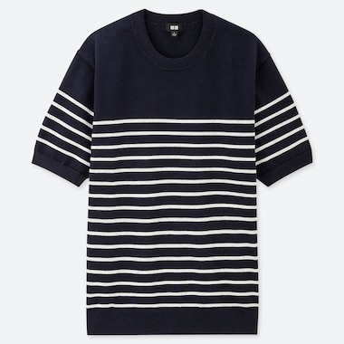 MEN WASHABLE STRIPED CREW NECK SHORT SLEEVED JUMPER