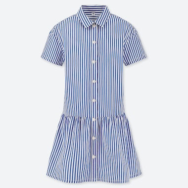 GIRLS STRIPED SHIRT SHORT-SLEEVE DRESS, BLUE, medium