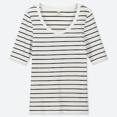 WOMEN RIBBED STRIPED U-NECK T-SHIRT
