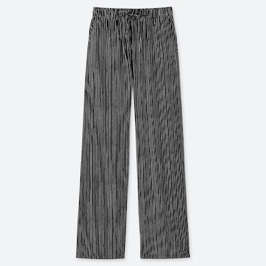 WOMEN DRAPE STRIPED STRAIGHT PANTS