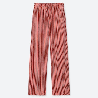 WOMEN DRAPE STRIPE STRAIGHT PANTS, RED, medium