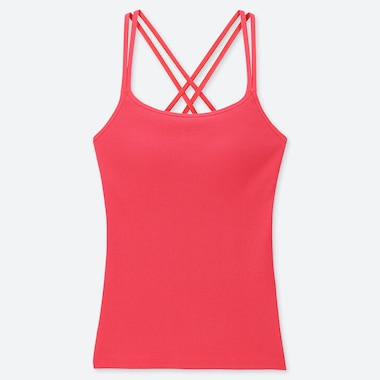 WOMEN CROSS BACK BRA CAMISOLE, RED, medium