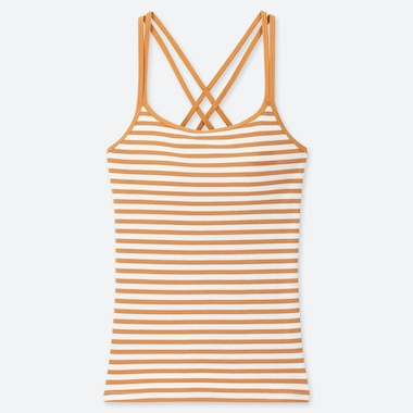 WOMEN CROSS BACK STRIPED CAMISOLE BRA TOP