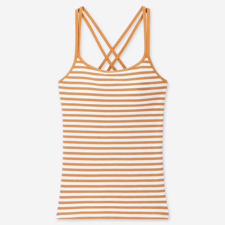 WOMEN CROSS BACK BRA CAMISOLE (STRIPE), YELLOW, large