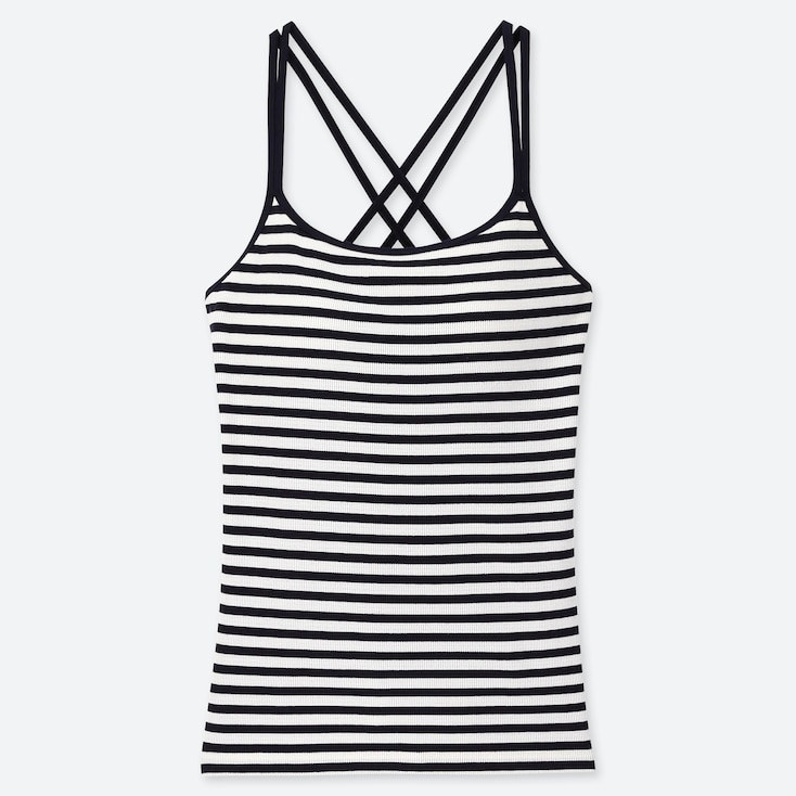 WOMEN CROSS BACK BRA CAMISOLE (STRIPE), NAVY, large