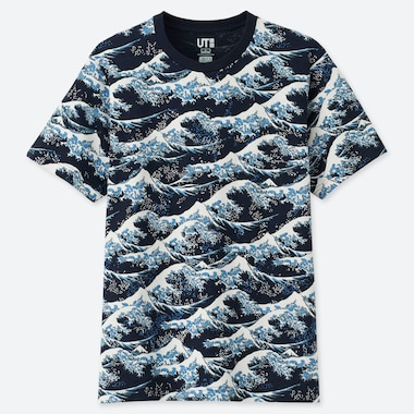 HOKUSAI BLUE UT (SHORT-SLEEVE GRAPHIC T-SHIRT), NAVY, medium