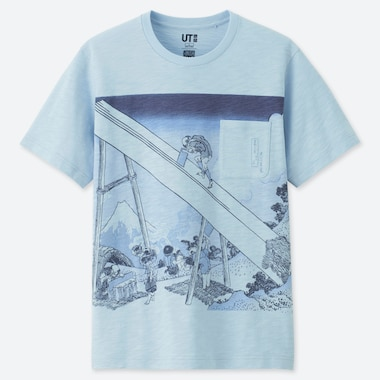 HOKUSAI BLUE UT (SHORT-SLEEVE GRAPHIC T-SHIRT), LIGHT BLUE, medium