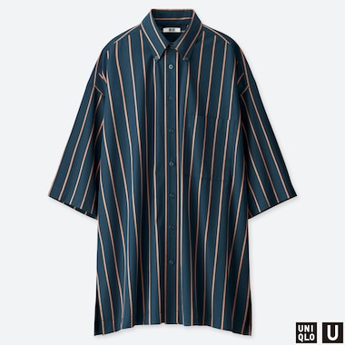 WOMEN UNIQLO U STRIPED BEACH COVER UP DRESS